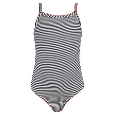 Kids Petit Bateau One Piece Swimsuit With Red Trim - Navy Blue/White Stripes