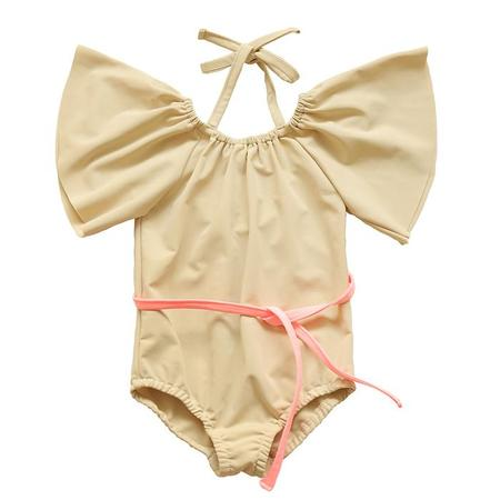 KIDS Tambere One Piece Swimsuit With Sleeves And Belt - Cream