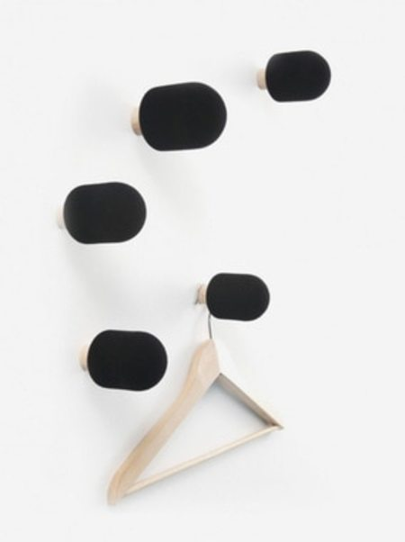 Moustache MICRO COAT HOOKS (SET OF 5) - BLACK