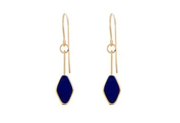 IRK Jewelry DIAMOND DROP EARRINGS - NAVY/24K DETAIL