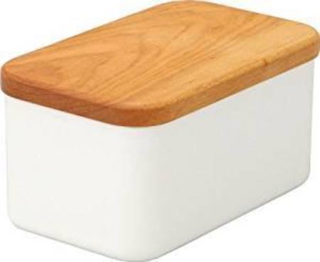 Noda Horo DEEP BUTTER CASE WITH CHERRY WOOD LID - White Enamel