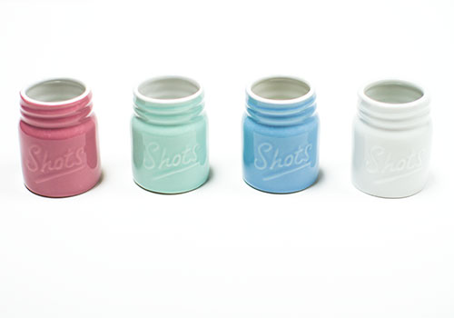 Barbuzzo Mason Jar Ceramic Shot Glasses