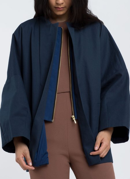KAAREM Billow Dropped Sleeve Zipper Jacket - Navy