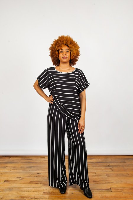 Sara Duke Jeffery Pants - Black/Cream Stripes
