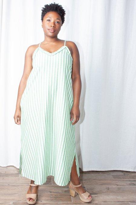 Wray Slip Dress - Green Stripe