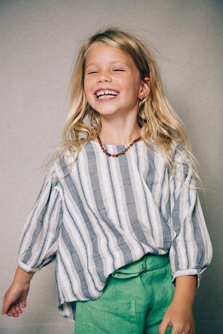 KIDS nico nico Theodora Blouse - Navy Sailor Stripe