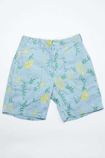 Engineered Garments Denim Floral Embroidery Fatigue Short - Light Blue