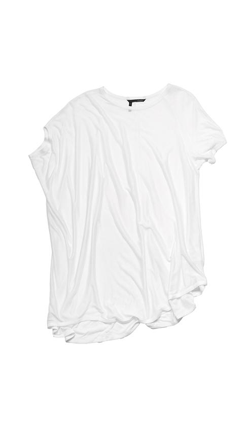 Obakki Side Drape Sheer Knit T-Shirt