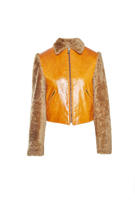 alyson eastman cow leather Bomber - Orange