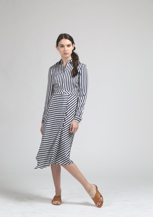 Maison Labiche Pareo Shirt Dress - Navy/White Stripe