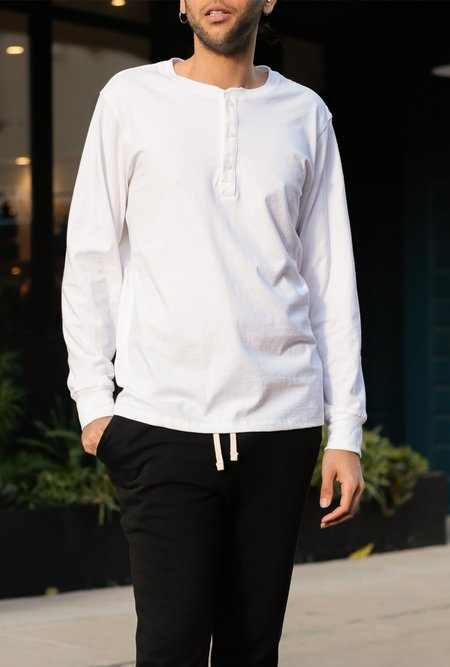 Richer Poorer Long Sleeve Henley - white