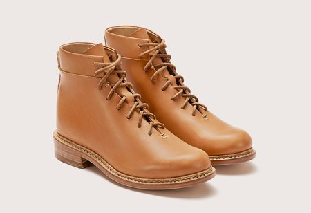 FEIT BRAIDED LACE UP BOOT - TAN