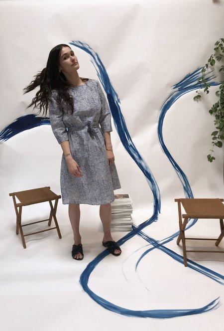 Samuji Finch Dress - Ecru/Blue