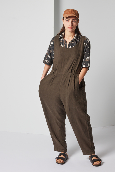 Black Crane Overall in Charcoal