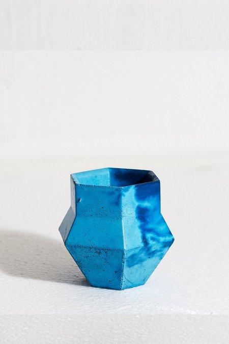 Concrete Cat Marble Phiale vase - Blue