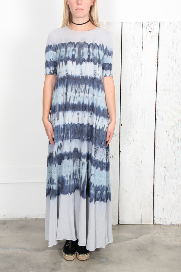 efb47a73f0 RAQUEL ALLEGRA BLUE TIE DYE JERSEY SHORT SLEEVE MAXI DRESS | Garmentory