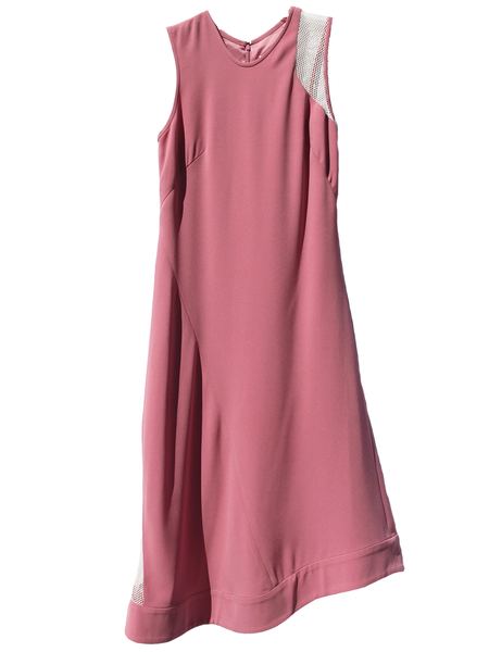 Nomia Net Insert Asymmetric Midi Dress - Peony