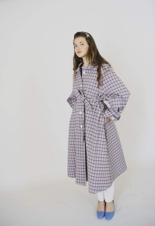 Clean Studios Lightweight Spring Coat - Pink Checked