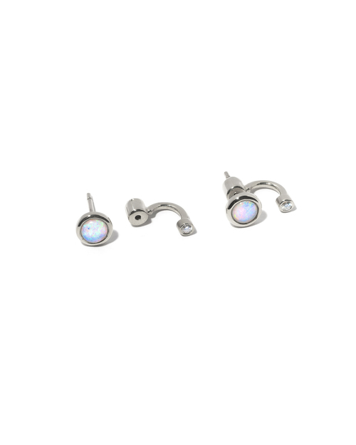 Pamela Love Single Gravitation Ear Jacket in Sterling Silver with Opal and White Topaz