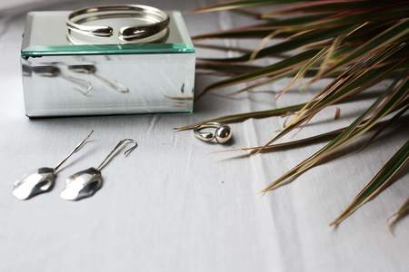 Jacqueline Rose Petal Drop Earrings - Silver