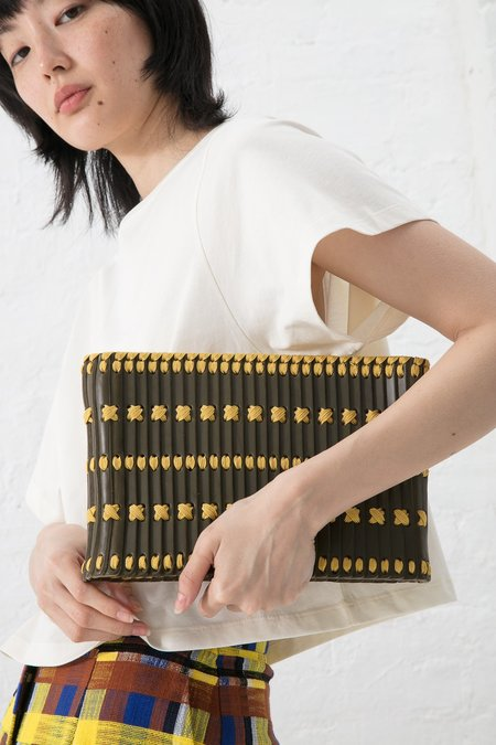 Hatori Clutch with Magnet Closure - Weed Leather/Mustard Lacing