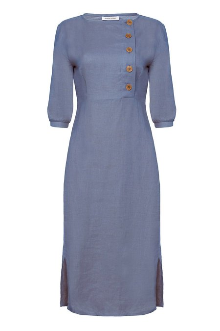 Caesthetic Stories Midi Linen Dress - Blue