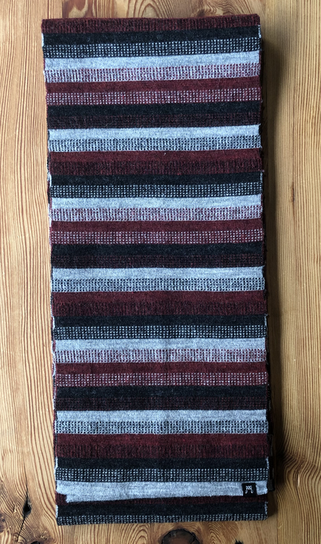 Myrrhia Fine Knitwear Tommy's Wool Scarf - Red/Grey Striped