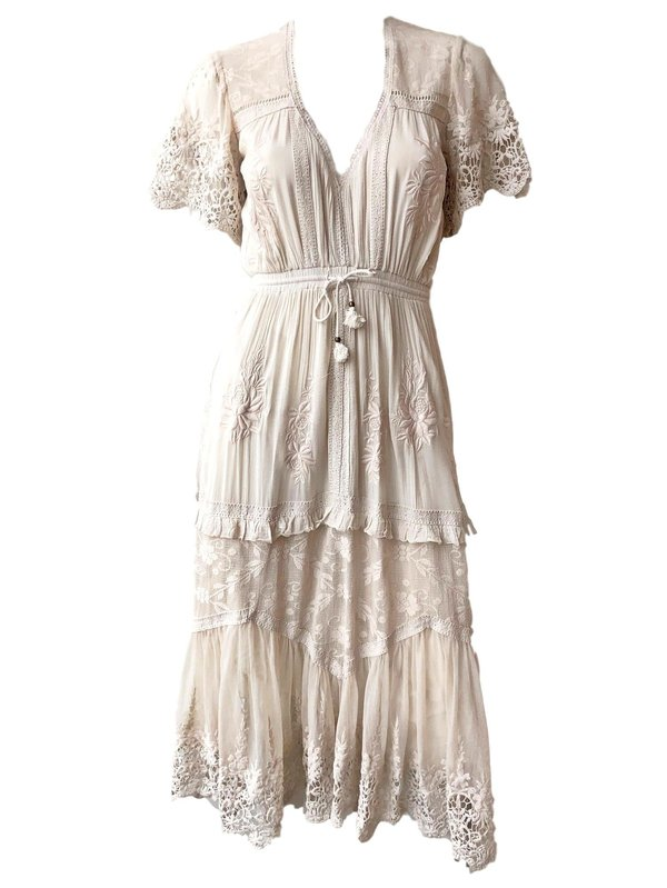 bcefd80ff942 SPELL   THE GYPSY COLLECTIVE Maggie Embroidered Midi Dress - WHITE ...