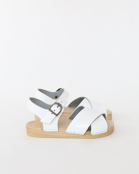 No.6 Coco Cross Front Sandal - White Patent