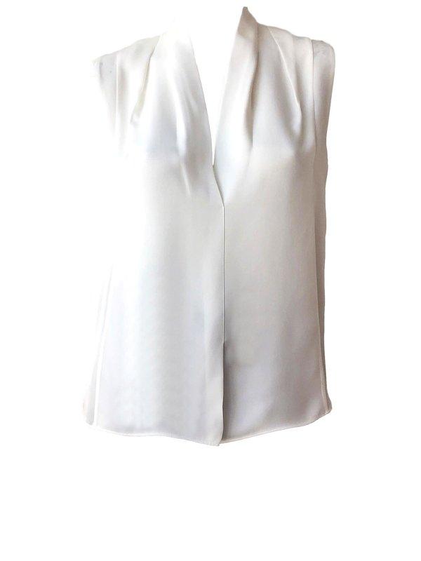2145d422323ec1 VINCE Sleeveless Drape Neck Blouse - Off White