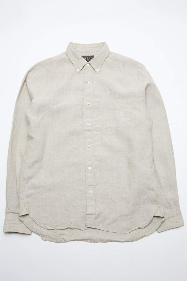 Beams Plus 40/1 Linen Button Down - Beige on Garmentory