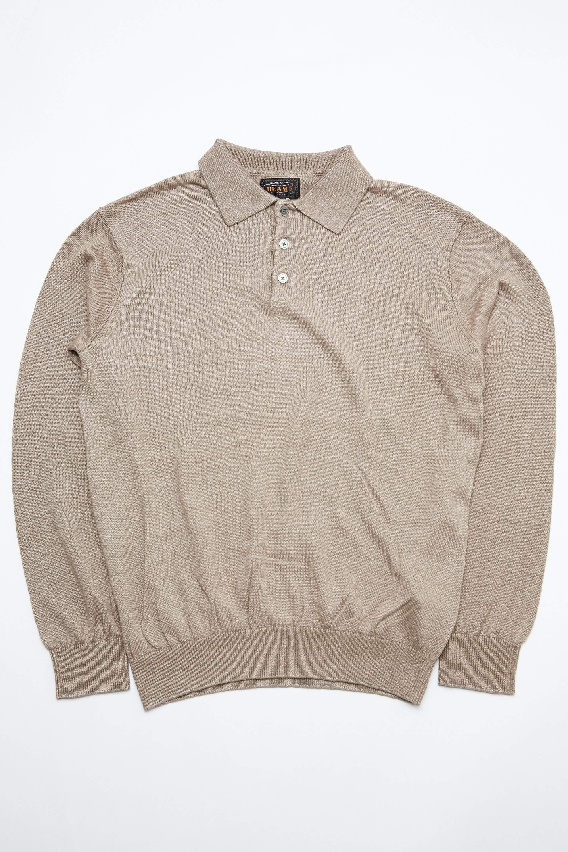 Beams Plus Knit Linen Polo - Beige