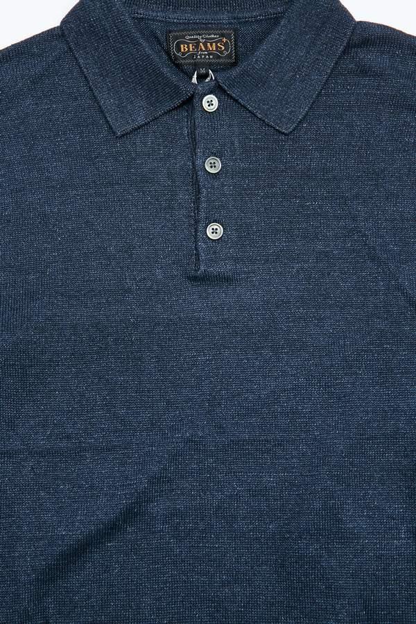 Beams Plus Knit Linen Polo - Navy