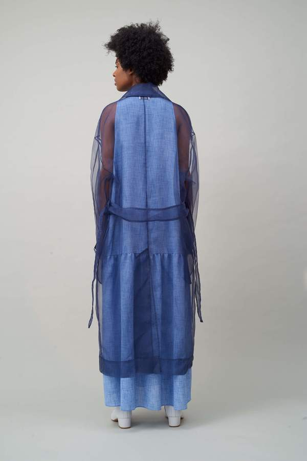 Nomia OVERSIZE ORGANZA TRENCH - NAVY