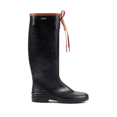 Aigle Miss Marion Packable Rubber Boot - Black/Amber