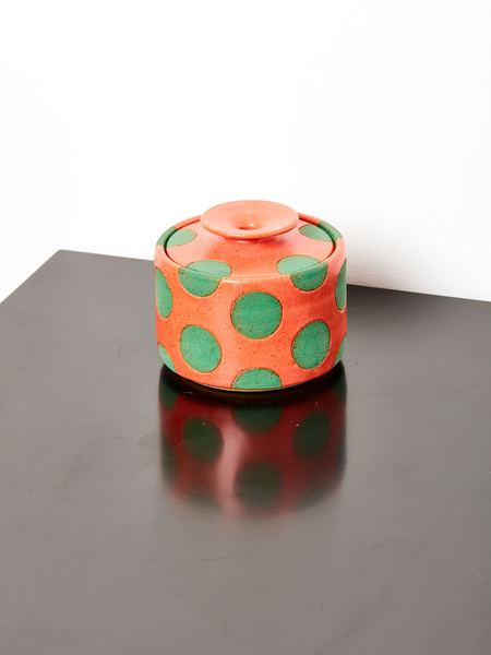 Matthew Ward Studio Polka Dot Jar - Coral/Glaze