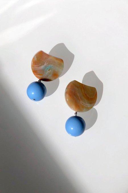 Rachel Comey Hoon Earrings - Mustard Marble/Blue
