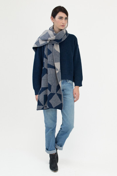 Micaela Greg blue spectrum scarf