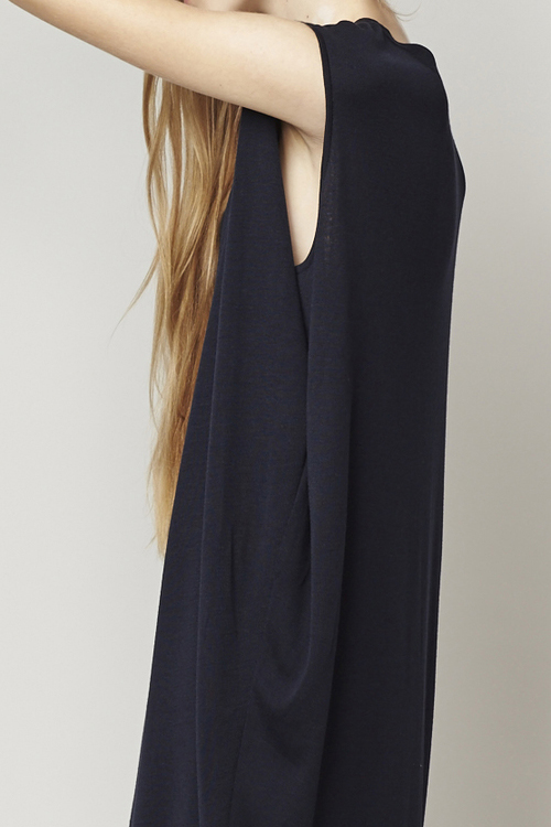 ACHRO COCOON SHAPED SWEATER DRESS WITH FOLDED SIDES - NAVY