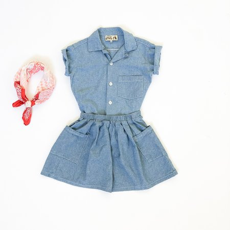 Kids Hey Gang Two Pocket Skirt - Chambray
