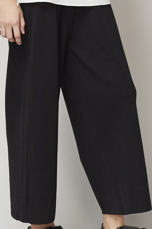ACHRO RIBBED WAIST KNIT PANTS - BLACK