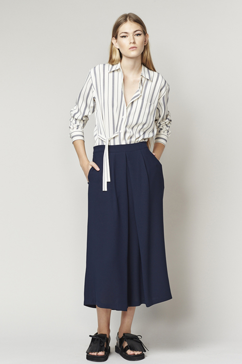 ACHRO PLEATED WIDE LEG CULOTTES - NAVY