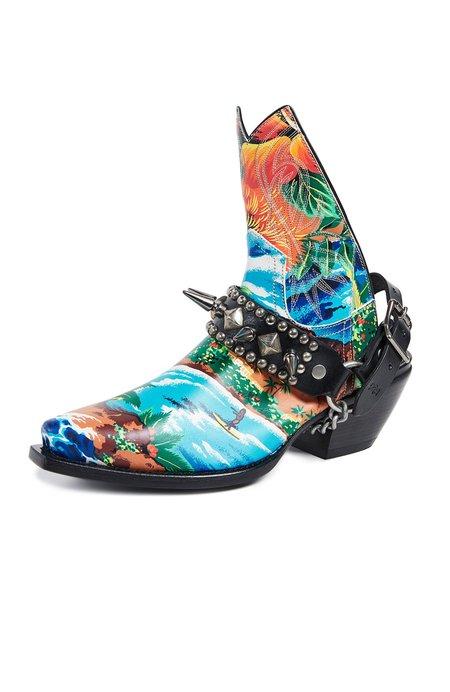 R13 Ankle Half Cowboy Boots - Hawaiian Print