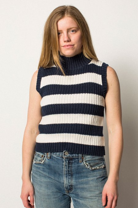 VINTAGE Preservation Mock Neck Striped Knit Top