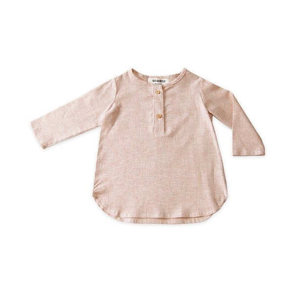 KIDS Go Gently Nation Placket Top - Adobe Stripe