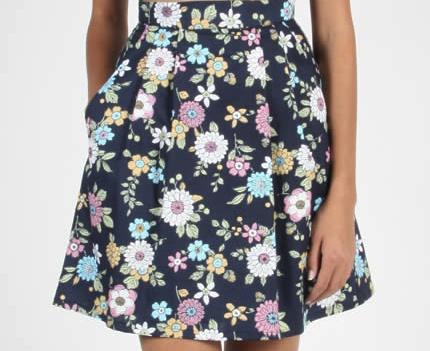 Birds of North America Aracari Skirt (Navy Floral)