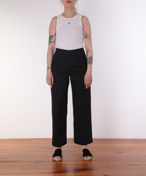 Ali Golden Side Zip Pant - Black