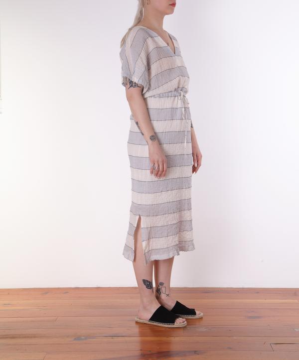 Hartford Rafaelle Drawstring Dress - BLUE/CHARCOAL STRIPES ON CREAM