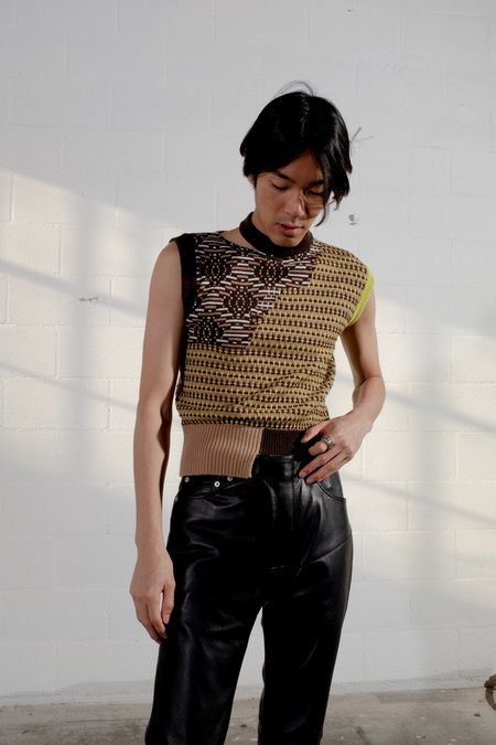 CMMN SWDN Ross Knitted Patchwork Vest
