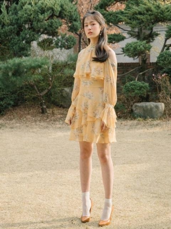 9a0a9de622e9 NOT YOUR ROSE Off Shoulder Frill Dress - Purple Yellow